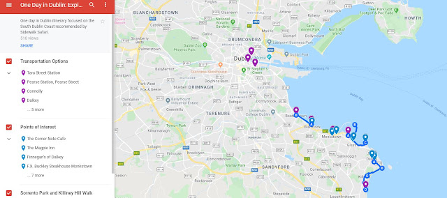 Dalkey to Killiney Hill walk map (and more)