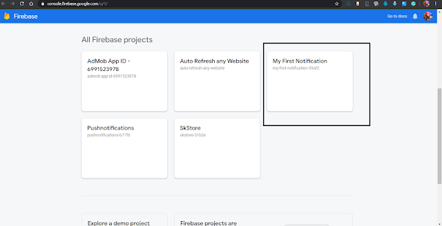 Open a project from Firebase console