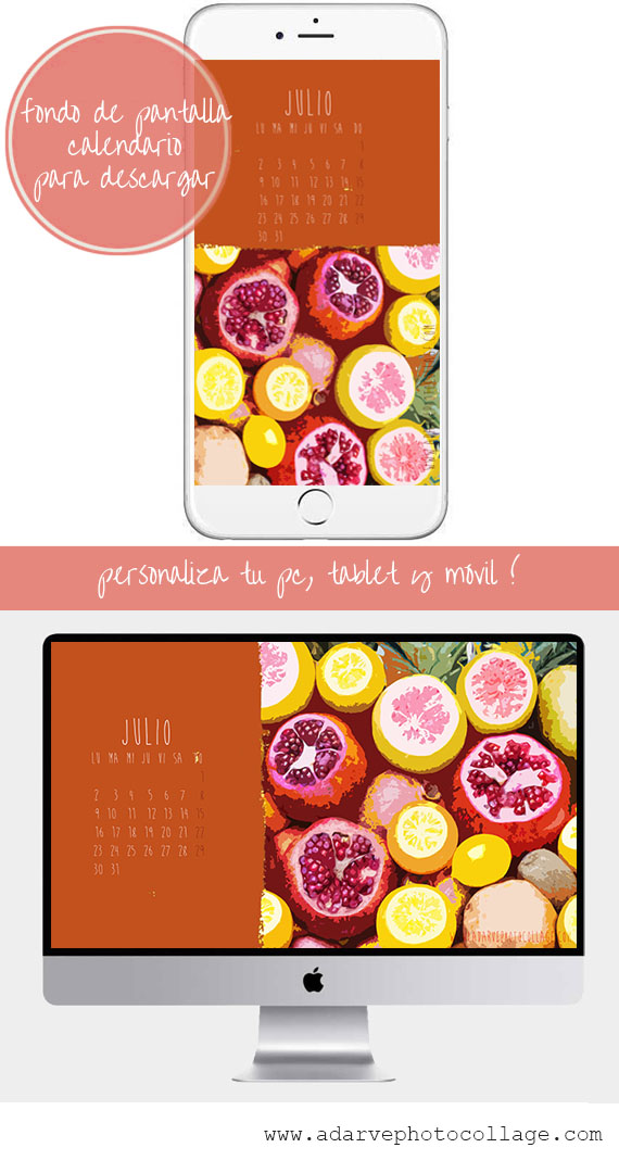 free july calendar wallpaper summer fruits and colors inspiration