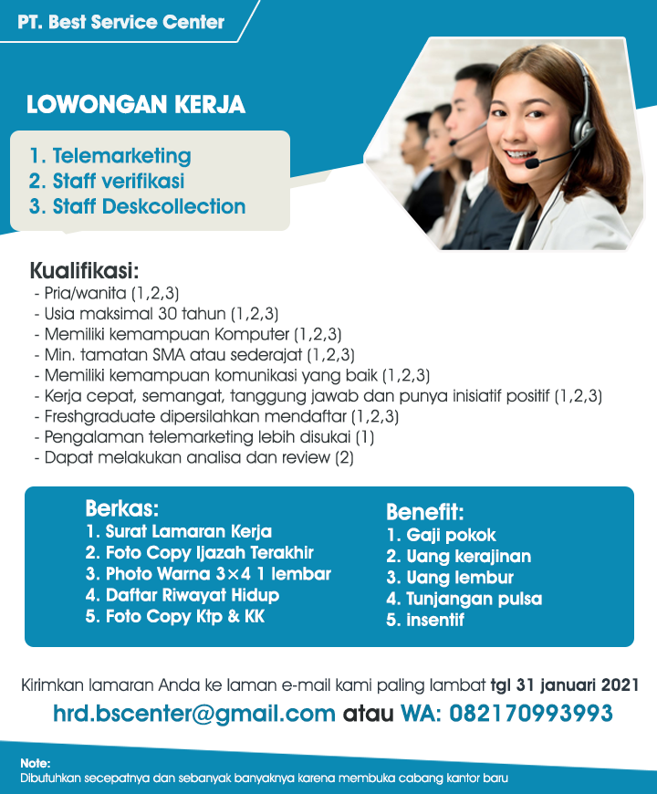 Info Loker Medan Terbaru Januari 2021 Di Pt Best Service Center Medan Medanloker Com Lowongan Kerja Medan