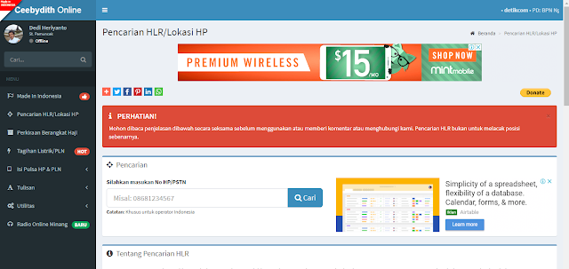 Cara melacak Nomor Hp dengan Menggunakan Ceebydith Online