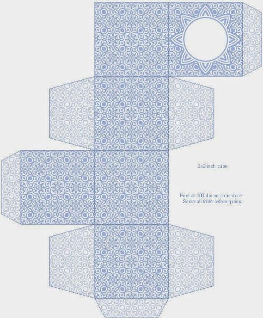 Cajas Cubo con Diseño de Flores para Imprimir Gratis.