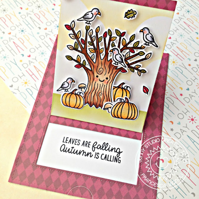Sunny Studio Stamps: Sliding Window Dies Happy Harvest Autumn Themed Happy Tree Card by Franci Vignoli