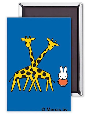 rectangular magnet, blue background, with bunny Miffy and two giraffes