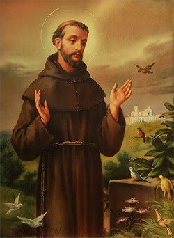 This is a photo of a laminated holy prayer card's front that contains full color depiction of St. Francis of Assisi.