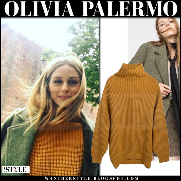 Olivia Palermo in mustard knit guess elin kling jonna sweater and green wool coat zara what she wore streetstyle