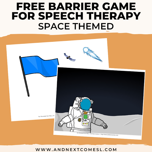 Printable barrier game for speech therapy