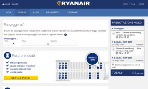 posti a pagamento voli aereo