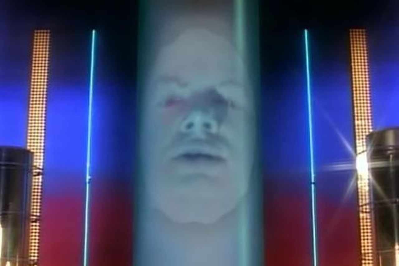 weird face in a tube, Zordon, played by David Fielding
