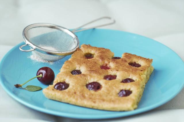 Sour cherry sponge cake