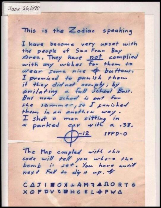 Hombre asegura haber decodificado al asesino del Zodiaco