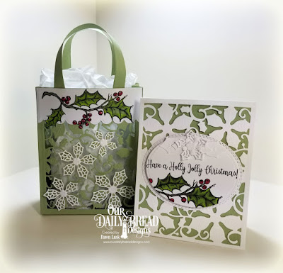 Our Daily Bread Designs Stamp Set: Holly Leaves, Custom Dies: Poinsettia Inset, Oval Stitched Rows, Ovals, Merry Mosaics, Card Caddy & Gift Bag, Gift Bag Handles & Topper