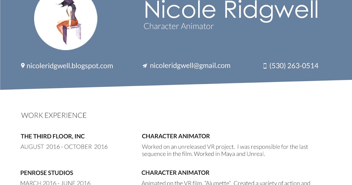 Character Animator Sample Resume colbro