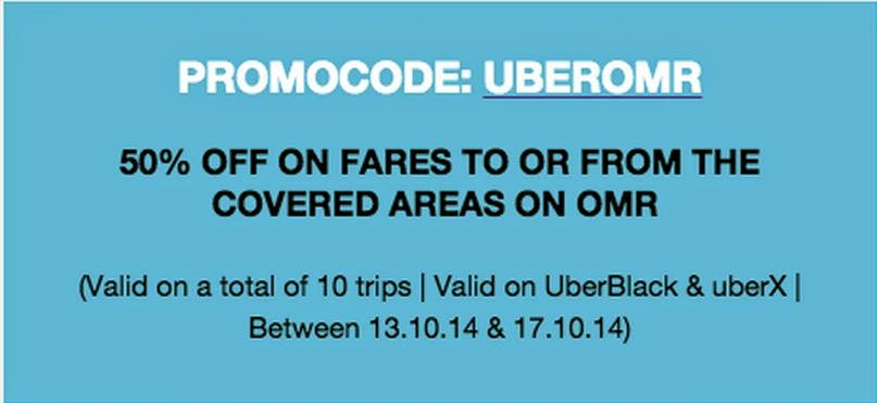 ‪#‎Chennai‬ peeps! 50% off on #Uber rides to and from the OMR area, all week!