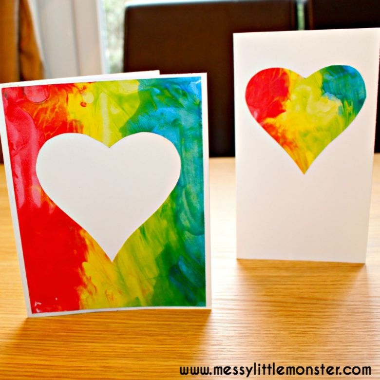 rainbow heart art project