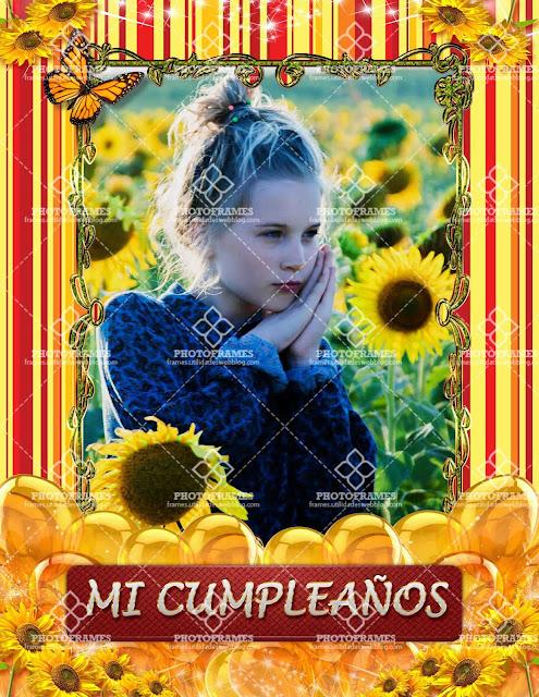 Marco color amarillo para fotos de cumpleaños en png