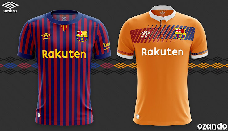 85f34682626 This image shows the Barcelona Umbro home and away concepts by Ozando.