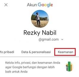menu keamanan di halaman setting akun Google