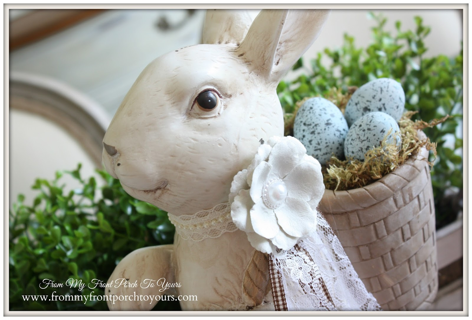 French Farmhouse Easter Dining Room-Rabbit Tablescape- From My Front Porch To Yours