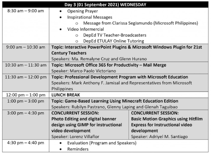 DAY 3 SESSION   SECOND DEPED VIRTUAL INSET   TOPICS & SPEAKERS   SEPTEMBER 1, 2021