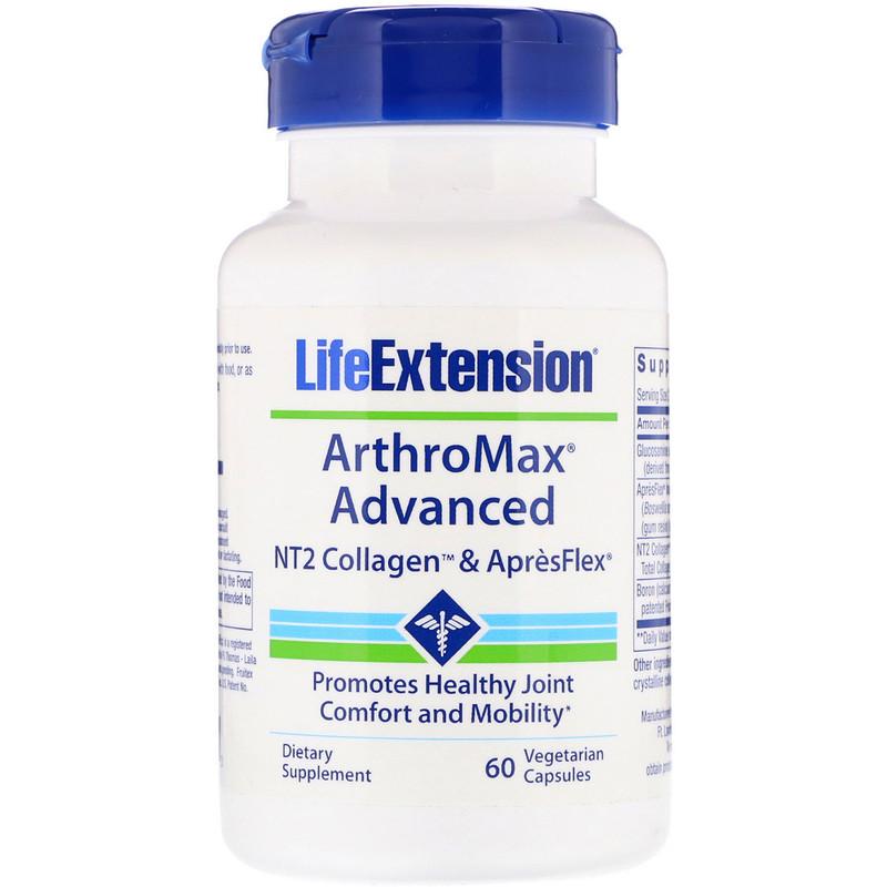 Life Extension, ArthroMax Усовершенствованная формула, NT2 Коллаген и ApresFlex, 60 вегетарианских капсул