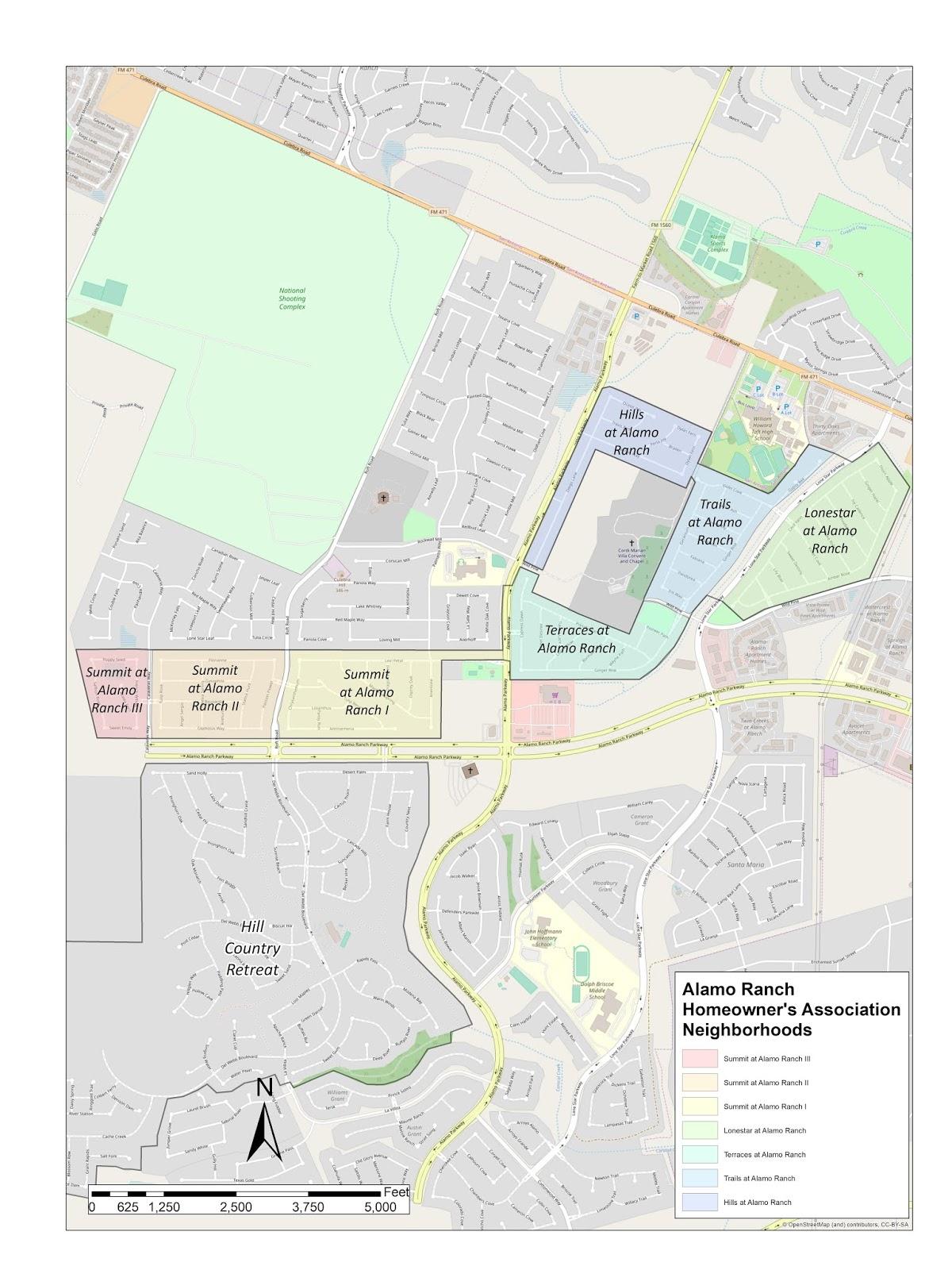 Alamo Ranch Maps: Detail map of Alamo Ranch Homeowner's