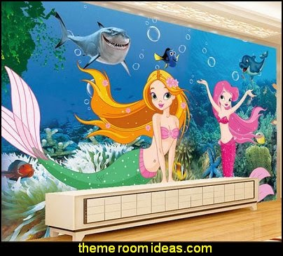 Underwater World aquarium dimensional cartoon mermaid mural wallpaper