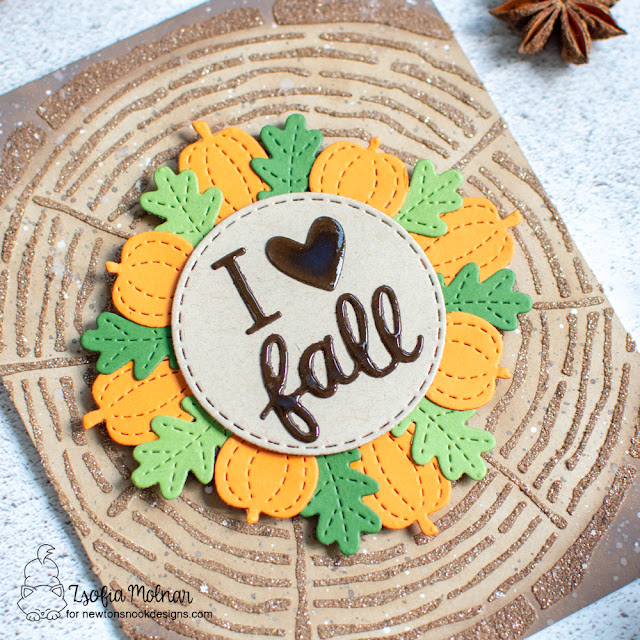 I Love Fall Card by Zsofia Molnar | Tree Rings Stencil, Fall Friends Die Set and Circle Frames Die Set by Newton's Nook Designs #newtonsnook