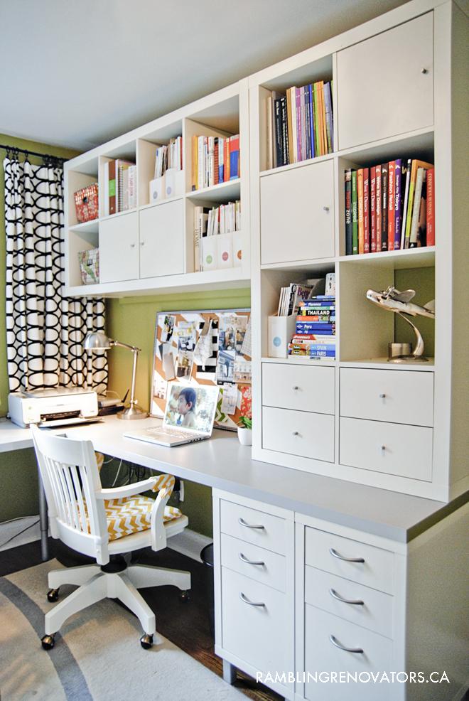 IKEA l shaped desk, ikea home office, office for two, ikea office hack, ikea expedit on walls