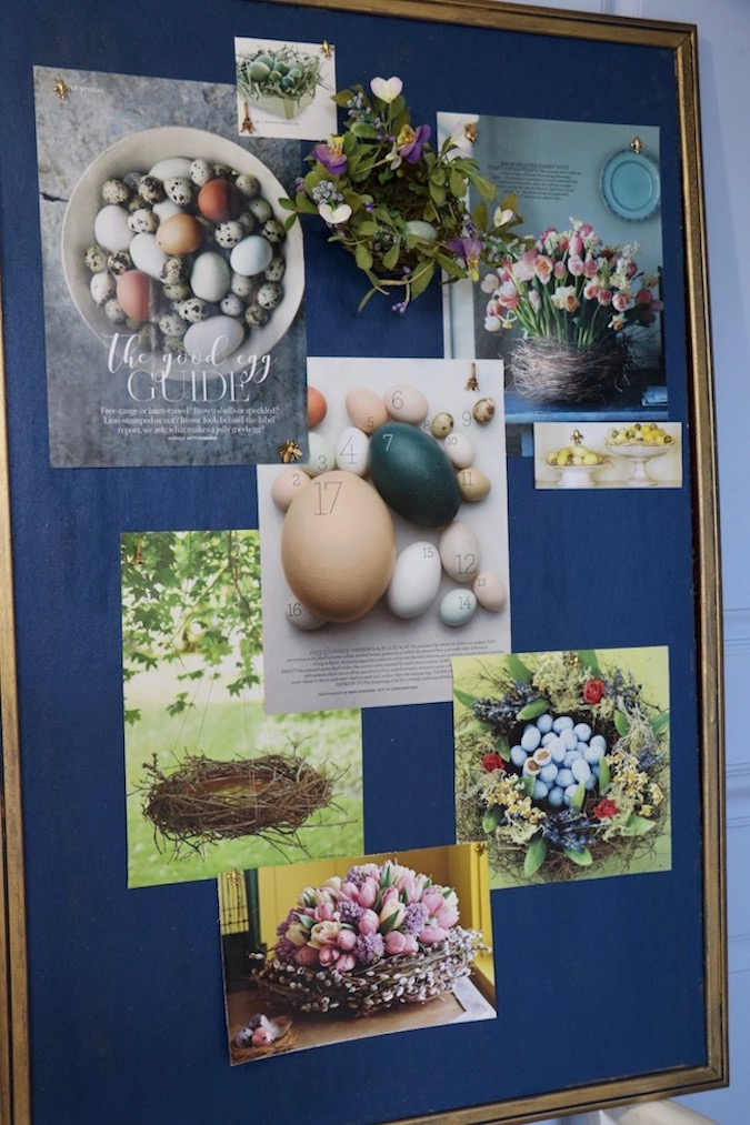 Photos of baskets, bird's eggs, and wreaths on a bulletin board offers inspiration