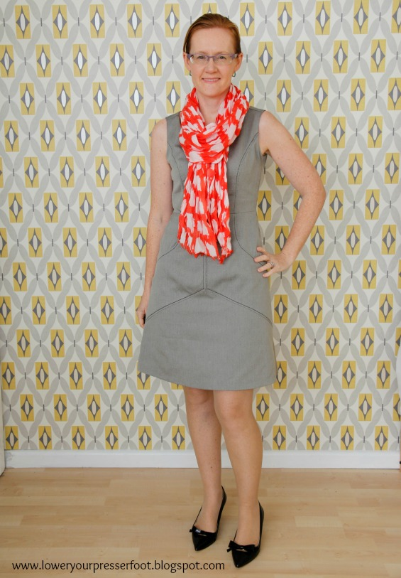 Burda 6/2016 #104 sheath dress in grey www.loweryourpresserfoot.blogspot.com