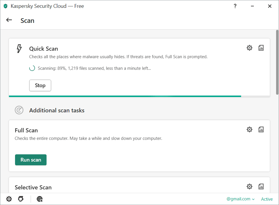 Kaspersky Security Cloud Quick Scan Screenshot
