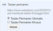 10. Tautan Permanen - 40 Post Editor Blogger