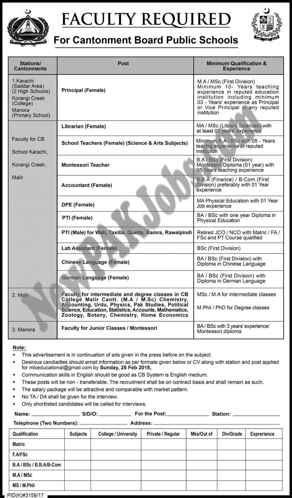 Jobs in Cantonment Board Public schools Feb 2018