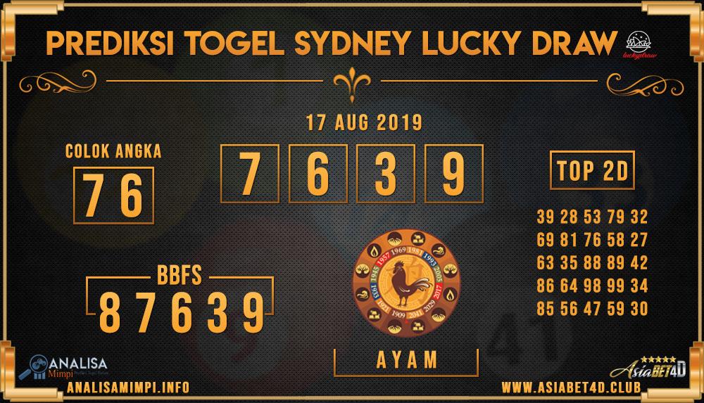 PREDIKSI TOGEL SYDNEY LUCKY DRAW 17 AUG 2019