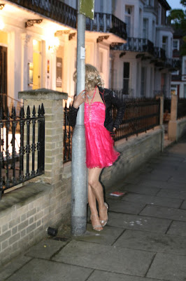 Sissy cross-dresser wears pink princess dress in public