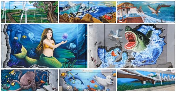 台中梧棲|台電梧棲服務所68米互動式3D彩繪牆|海洋世界|風力再生能源|漁村風情|栩栩如生