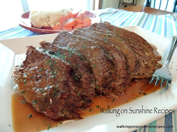 Sunday dinner and the easiest recipe for pot roast cooked in the crock pot from Walking on Sunshine Recipes.
