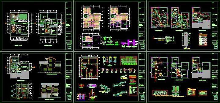 Villas design full autocad dwg files for House plan cad file