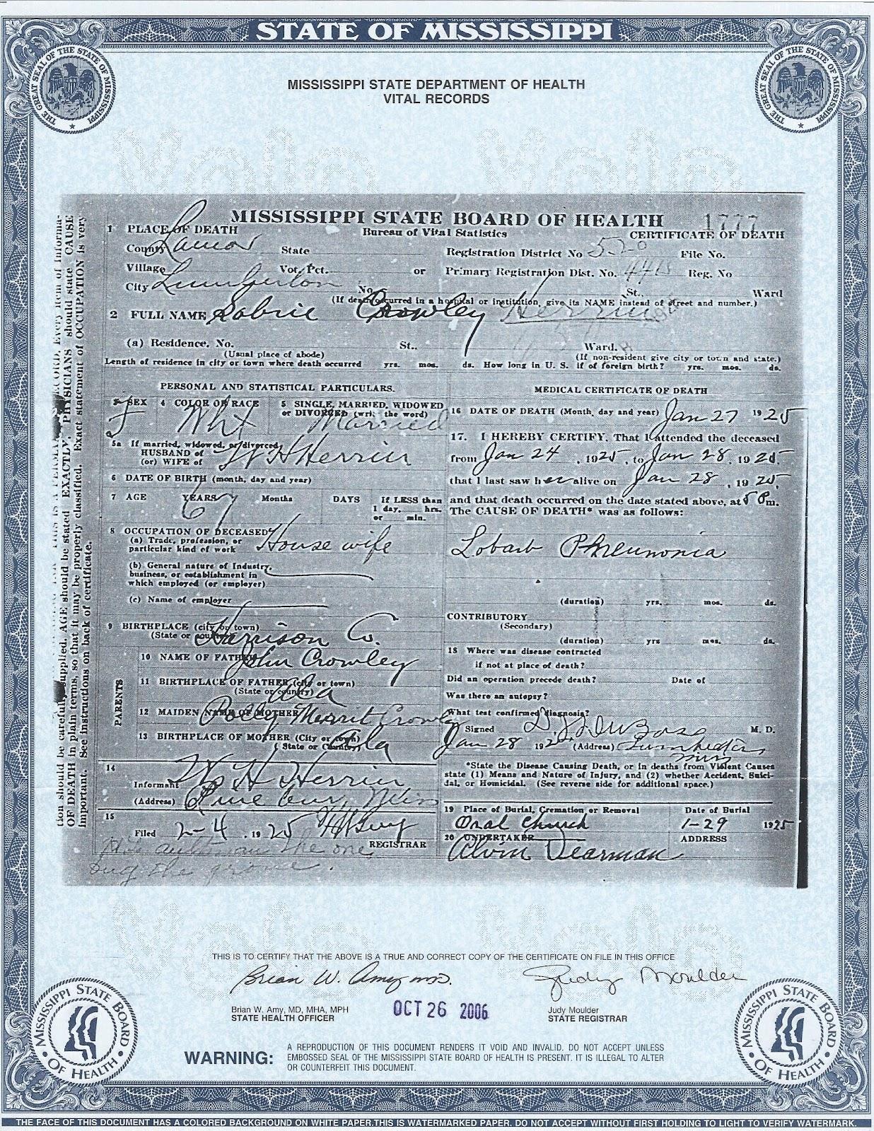 The family snoop 2012 death certificate sabra crawley herrin aiddatafo Choice Image