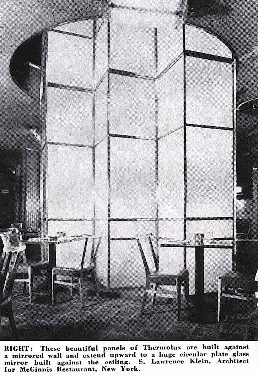 a photograph of 1941 Thermolux and mirrors in a restaraunt