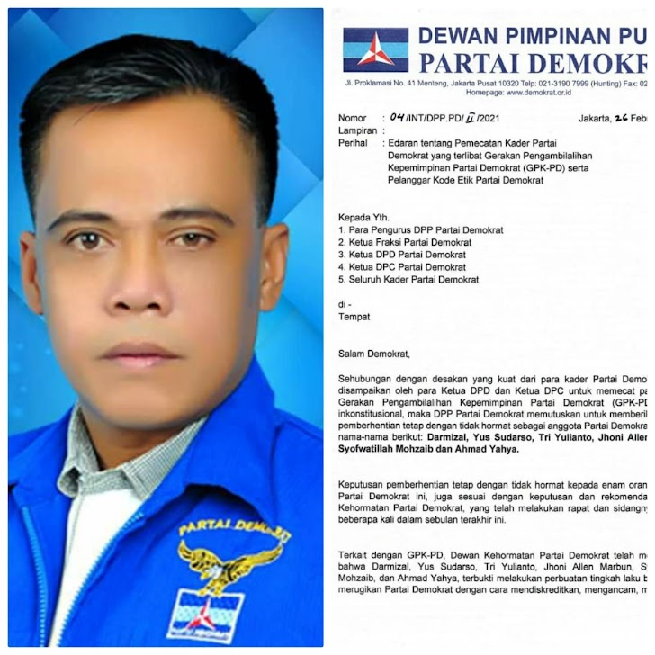Ketua Praksi Demokrat DPRD Sarolangun Dukung Langkah AHY Memecat Kader Khianat