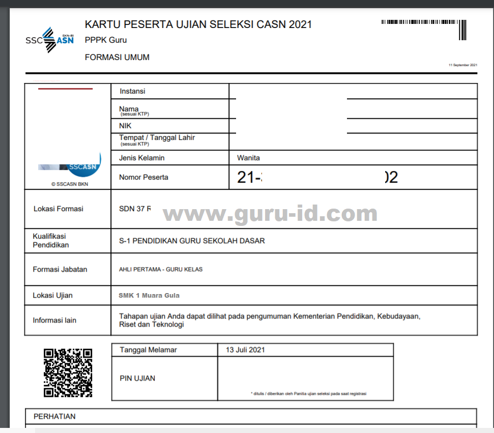 gambar kartu peserta ujian pppk guru 2021