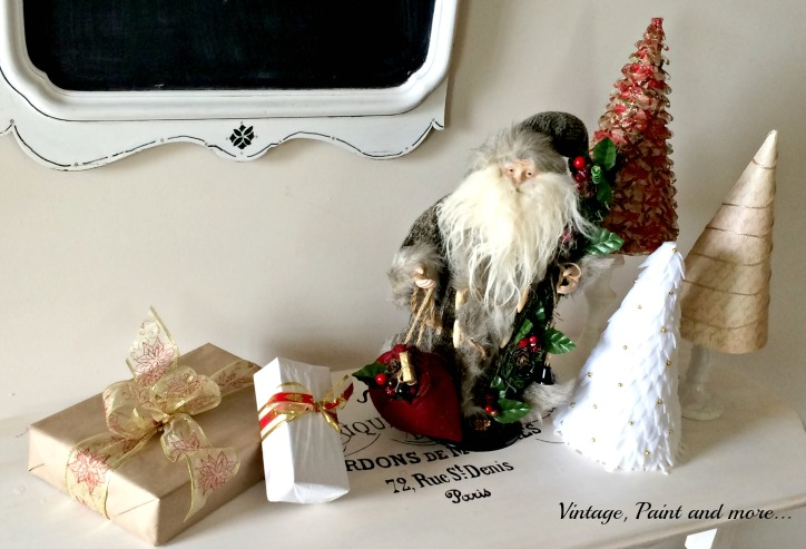 Vintage, Paint and more... Vintage Christmas decor with diy cone trees, faux packages and Old World Santa