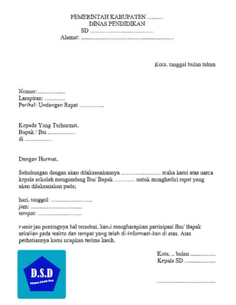 Surat Undangan Rapat Di Sekolah Dokumen Sekolah Dasar