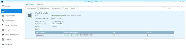 Active Backup for Business zakładka PC