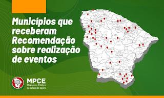 Ministério Público recomenda a 43 municípios adoção de medidas de segurança na realização de eventos
