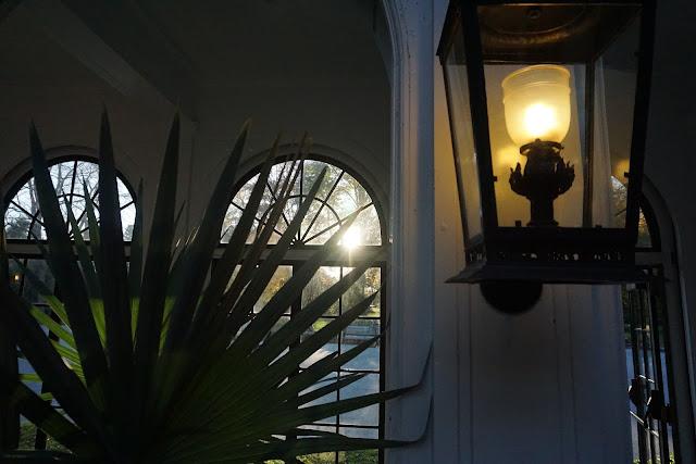 photo of palm, lantern, and sun setting through the window