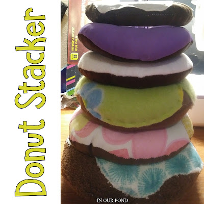 How to Make a Sensory Donut Stacker for Babies from In Our Pond #sewing #crafting #diy #diytoys #babies #babytoys #crafts #sensory
