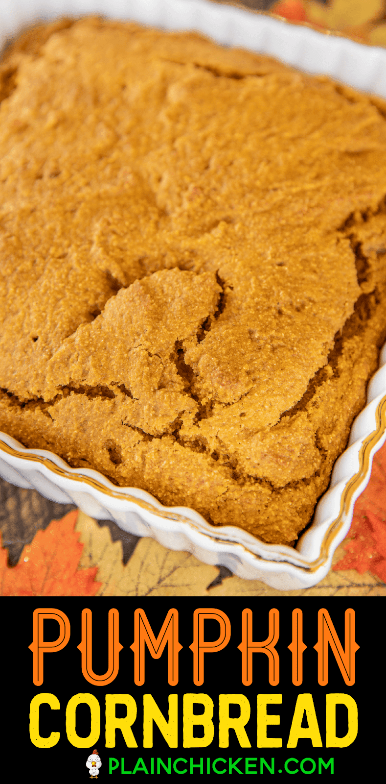 pumpkin cornbread in baking dish